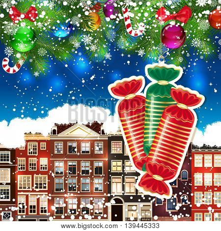 Candy on the background of snow-covered streets. New Year design background. Falling snow.  Holiday illustration with place for text.