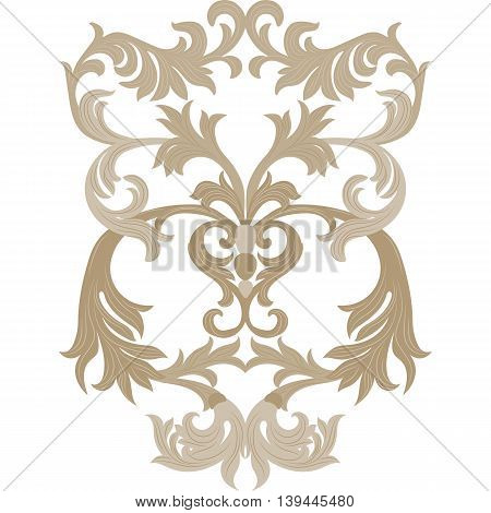 Vector damask ornament. Exquisite Baroque template. Classical luxury fashioned damask ornament Royal Victorian texture for textile wrapping. Almond beige color ornament