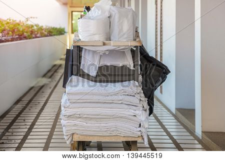 cleaning tool cart of housekeeper or maid in hotel.