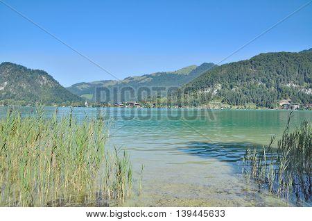 Lake Walchsee near Village of Koessen in Tirol,Alps,Austria