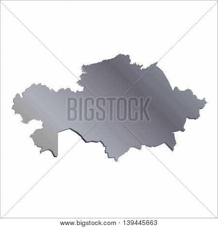 3D Vector Kazakhstan Aluminium Map With Shadow