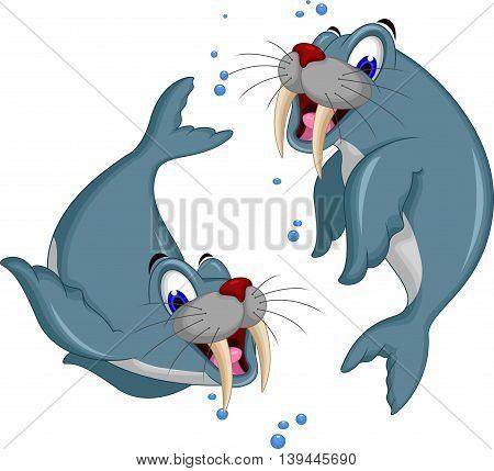 cute Cartoon walrus couple for you design