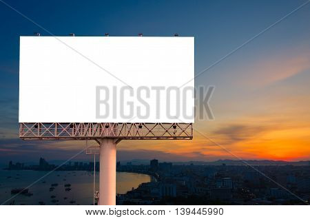 Blank Billboard Ready For Advertisement In City Downtown With Sunrise Background