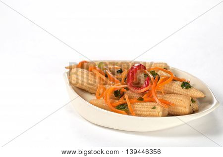 Marinated Corn With Carrot Onion and Paprika