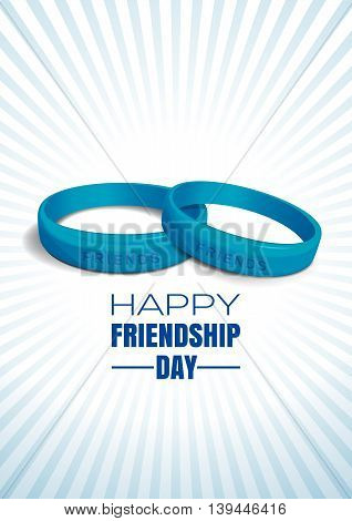 Blue wristbands with text Friends on blue retro background on occasion of Happy Friendship Day celebrations. Greeting card for International Friendship Day. Vector illustration