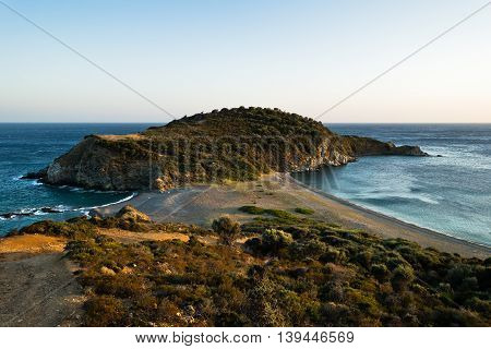 Cape at the most southern point of Sithonia coast near Porto Koufo, Greece