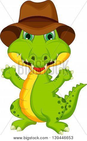 funny crocodile cartoon posing wearing a hat