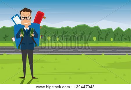 Smiling Young School Boy in Uniform with Blue Backpack. Man on green grass near road and tree. Back to School Concept.