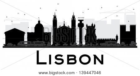 Lisbon City skyline black and white silhouette. Simple flat concept for tourism presentation, banner, placard or web site. Business travel concept. Cityscape with landmarks