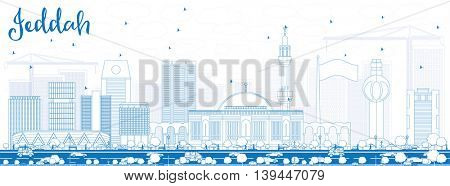 Outline Jeddah Skyline with Blue Buildings. Business Travel and Tourism Concept with Modern Buildings. Image for Presentation Banner Placard and Web Site.