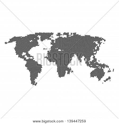Vector halftone world map. Continents for your design. EPS