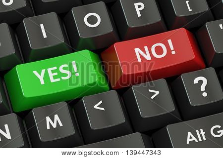 Yes and No concept on the black keyboard 3D rendering