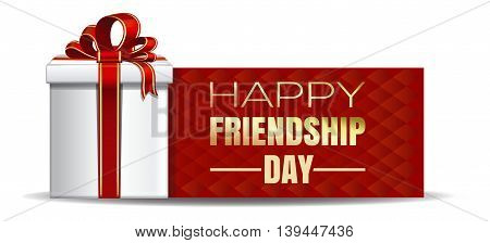 International Friendship Day design. Gift box on the background of a greeting card. Vector illustration