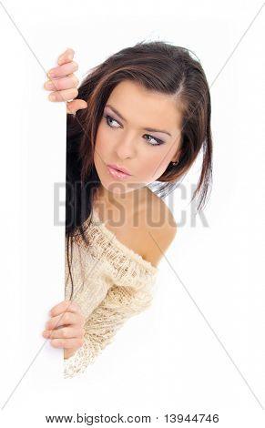 beautiful woman holding a blank billboard.