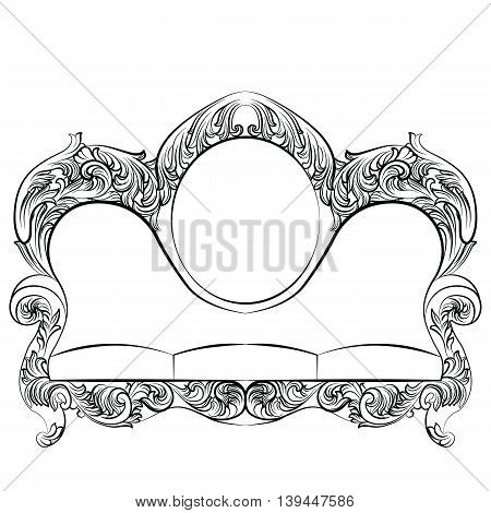 Glamorous Rich Baroque Rococo Sofa set. French Luxury rich carved ornaments furniture. Vector Victorian exquisite Style couch