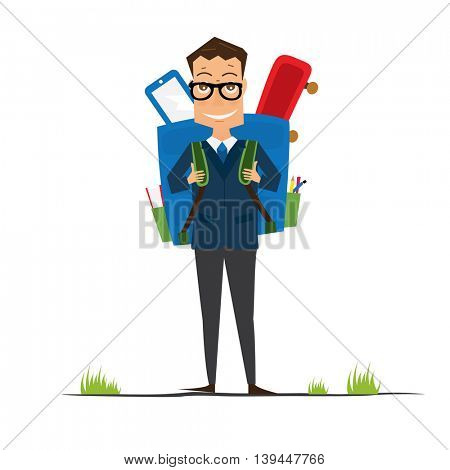 Smiling Young School Boy in Uniform with Blue Backpack. Man isolated on white background. Back to School Concept.