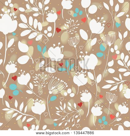 Brown floral seamless pattern with white flowers. Brown background with watercolor blurs. Vector illustration