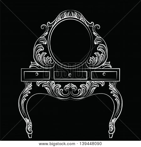 Vector Baroque furniture Dressing Table and Round mirror frame. French Luxury rich carved ornaments furniture. Victorian Royal Style furniture. Black background