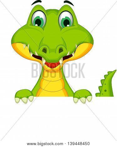 funny crocodile cartoon holding a blank sign