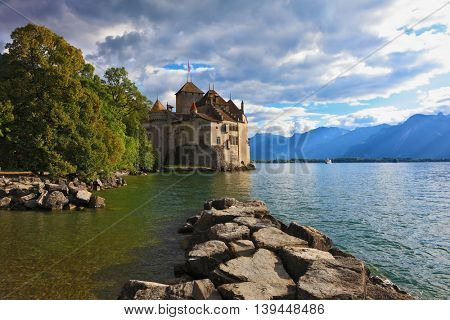 Lake in the mountains. Cold sunset Lake Geneva in the fall on  sunny day. Montreux, Switzerland