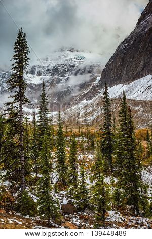 Cold start of autumn in Jasper National Park. Snow fell in September. Mount Edith Cavell and Angel Glacier