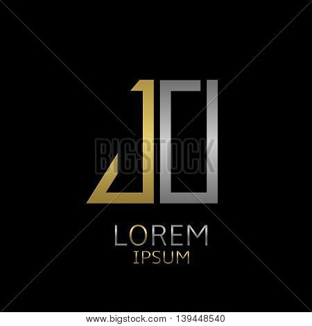Golden J and silver O letters logo template for your business company
