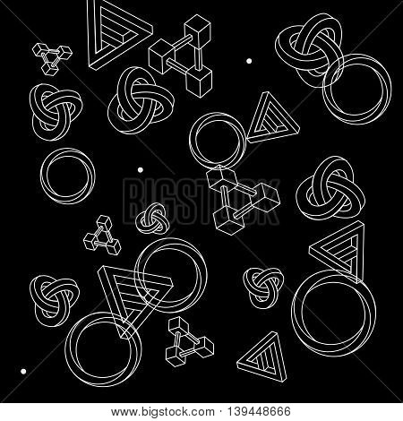 Pattern geometric seamless simple monochrome minimalistic pattern of impossible shapes, rectangles, triangles, rounds