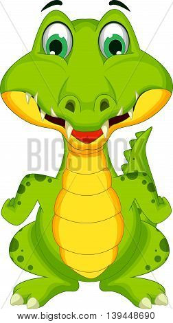 funny crocodile cartoon smiling for you design