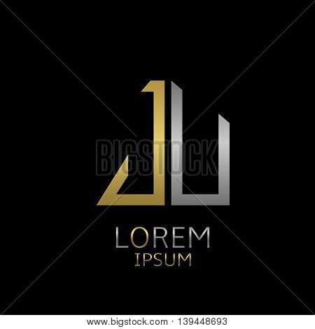 Golden J and silver U letters logo template for your business company