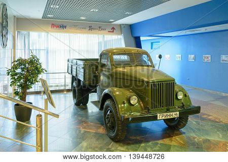 Orel, Russia - June 23, 2016: Soviet retro truck GAZ-51 in the building of the Congress Hall building