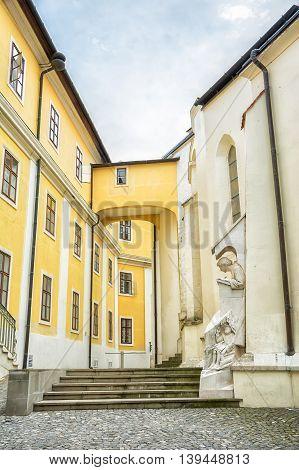 Pannonhalma Abbey Hungary. Benedictine abbey in Western Transdanubia region UNESCO World Heritage Site.