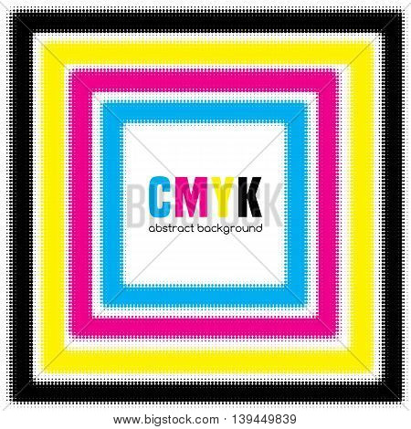 Abstract halftone background in CMYK colors. Vector illustration