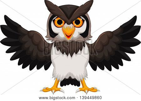 Cute owl cartoon waving for you design