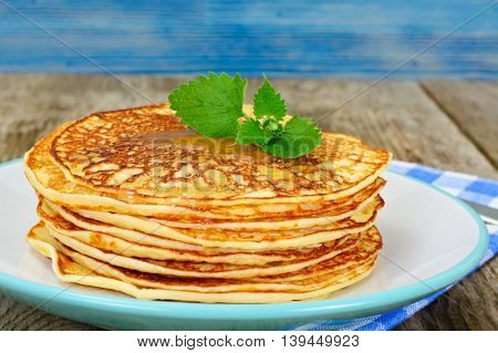 Tasty Pancakes Stack with Honey Studio Photo