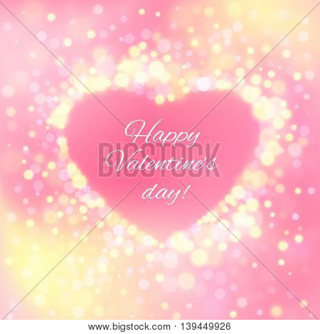 Happy Valentine Day Card with bokeh lights. Vector illustration.