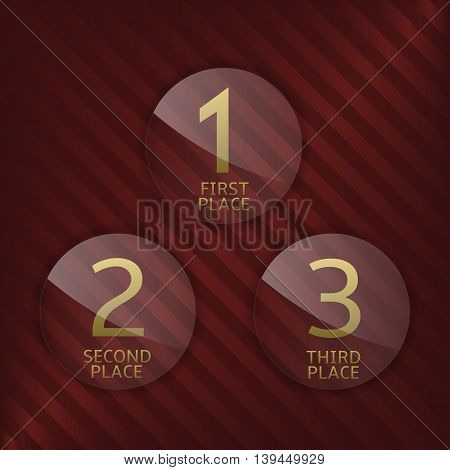 First, second and third winner icons. Award symbol set. Award label. Vector illustration