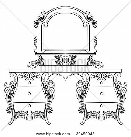 Vector Baroque furniture Dressing Table and mirror frame. French Luxury rich carved ornaments furniture. Victorian Royal Style furniture