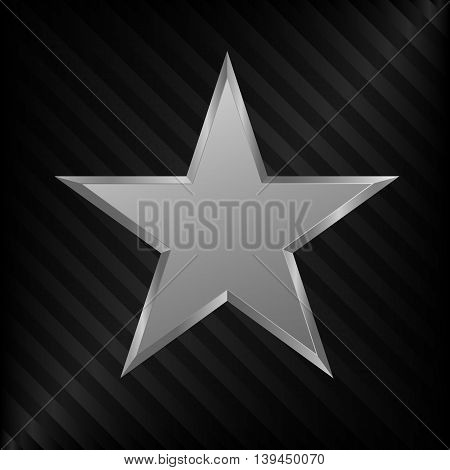 Silver Star symbol. Silver award sign, medal of honor