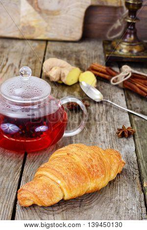 Tea and Croissant. French Breakfast Studio Photo