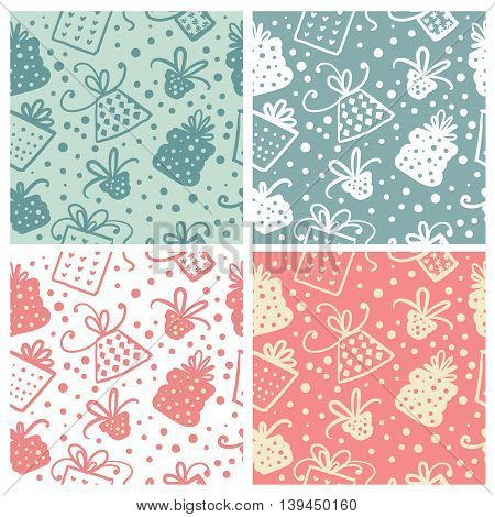 Set of Cute christmas doodle seamless pattern. Vector illustration.
