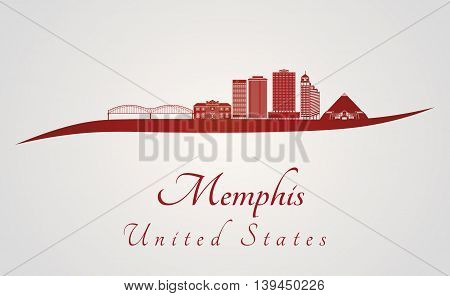 Memphis skyline in red and gray background in editable vector file