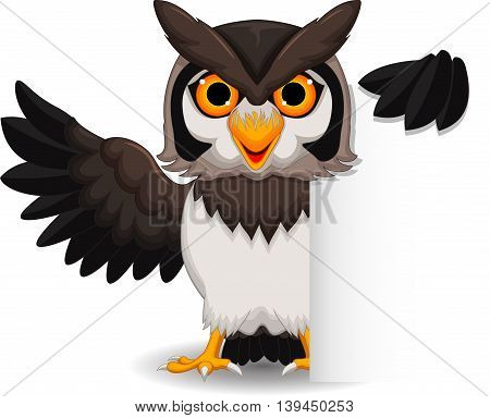 Cute owl cartoon posing with blank sign