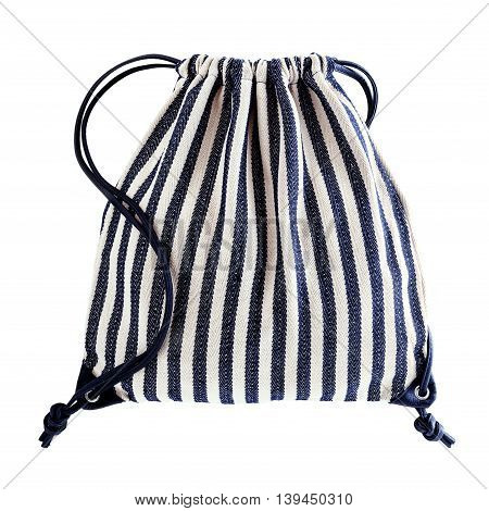 Drawstring backpack with blue and white stripes isolated on white background