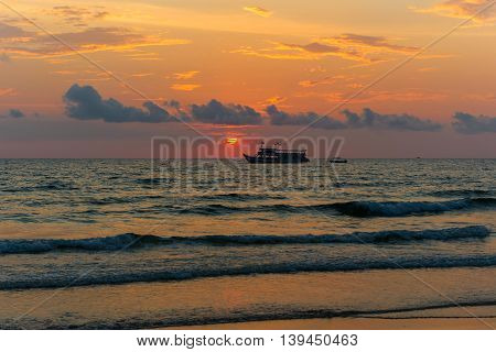 Sunset On The Tropical Beach In Thailand