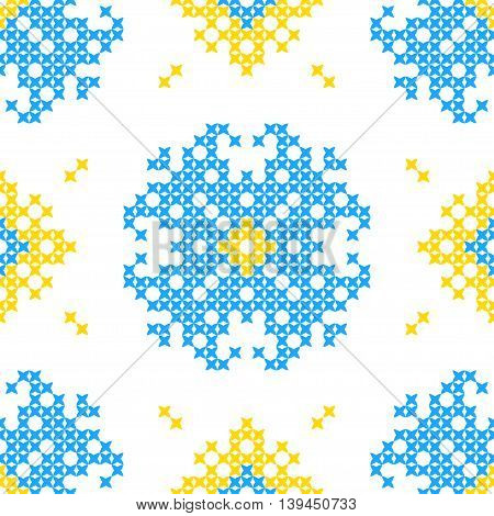 Seamless embroidered texture of abstract flat patterns blue flowers cross-stitch ornament for cloth