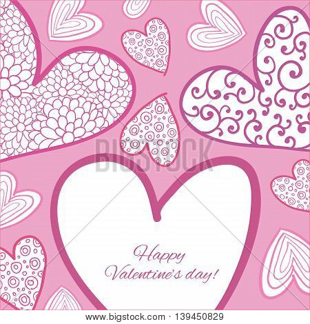 Happy Valentine Day Card. Designed text. Vector illustration.