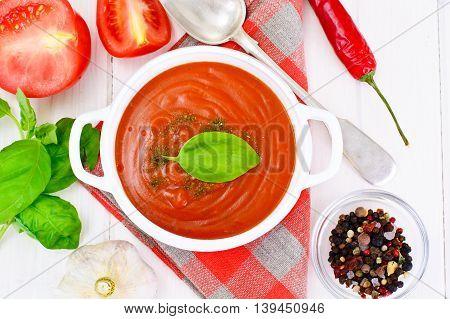 Carrot Tomato Soup in Plate. National Italian Cuisine. Studio Photo
