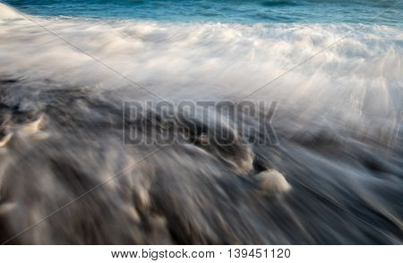 Sea waves water long exposure creating a nice soft milky water background