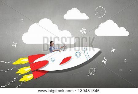 Woman in drawn rocket .  Mixed media