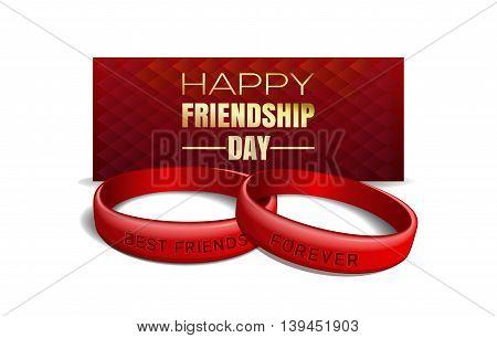 International Friendship Day design. Red wristbands with text Best Friends Forever on the background of a greeting card. Vector illustration